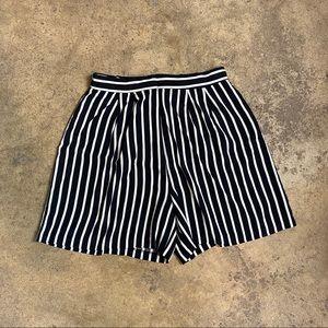 Vintage Striped Ultra High Waist Flutter Shorts